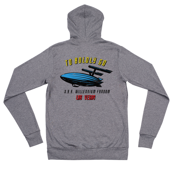 "To Boldly Go - A Star Trek Themed Unisex Zip Hoodie Back Side in Grey with text ""To Boldly Go, U.S.S Millennium Fandom, Las Vegas"""