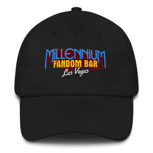 MFB Dad Hat in Black with the Millennium Fandom Bar Logo