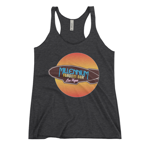 MFB Wormhole - Women's Racerback Tank in Charcoal-Black with the Millennium Fandom Bar Logo, Tri-Blend