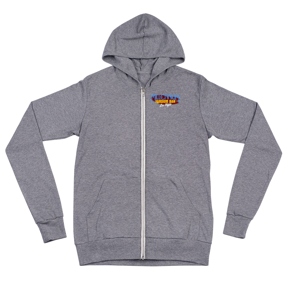 "To Boldly Go - A Star Trek Themed Unisex Zip Hoodie Front Side in Grey with text ""To Boldly Go, U.S.S Millennium Fandom, Las Vegas"""