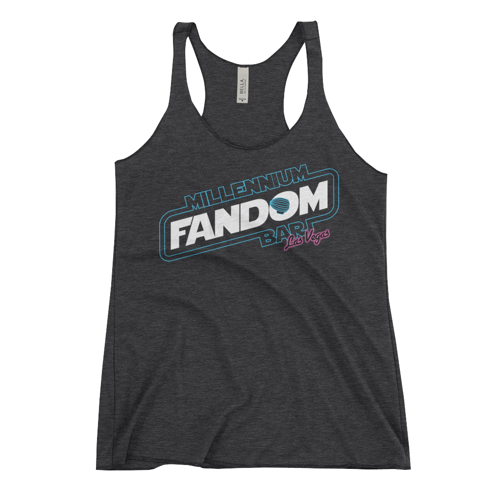 "Fandom Wars - A Star Wars Themed Women's Racerback Tank Tri-Blend in Black with text ""Millennium Fandom Bar, Las Vegas"""