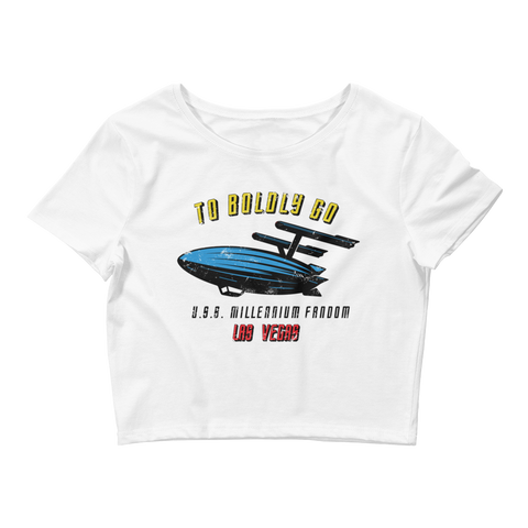 "To Boldly Go - A Star Trek Themed Women's Crop T-Shirt in White with text ""To Boldly Go, U.S.S Millennium Fandom, Las Vegas"""