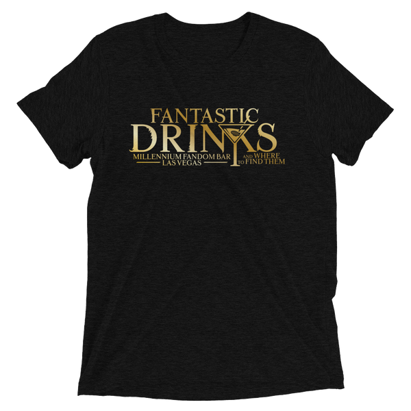 Fantastic Drinks And Where To Find Them - A Harry Potter Themed Short-Sleeve T-Shirt Tri-Blend in Charcoal-Black