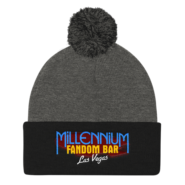 MFB Pom Pom Knit Cap in Grey and Black with the Millennium Fandom Bar Logo