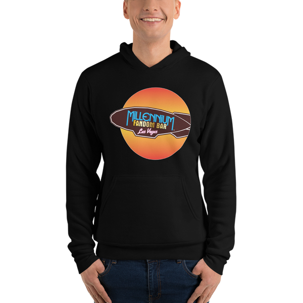 MFB Wormhole - Unisex Hoodie in Black Front Side with the Millennium Fandom Bar Logo