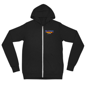"Fandom Wars - A Star Wars Themed Unisex Zip Hoodie in Black front side with text ""Millennium Fandom Bar, Las Vegas"""