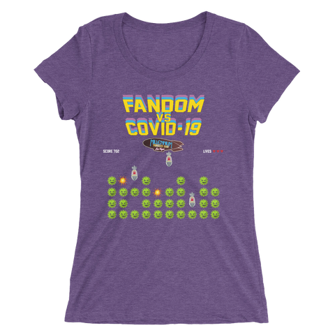 SPECIAL EDITION: Fandom vs Covid-19 - A Space Invader Themed Ladies' short sleeve t-shirt in Purple Triblend