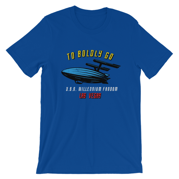 "To Boldly Go - A Star Trek Themed Short-Sleeve Unisex T-Shirt in True Royal Blue with text ""To Boldly Go, U.S.S Millennium Fandom, Las Vegas"""