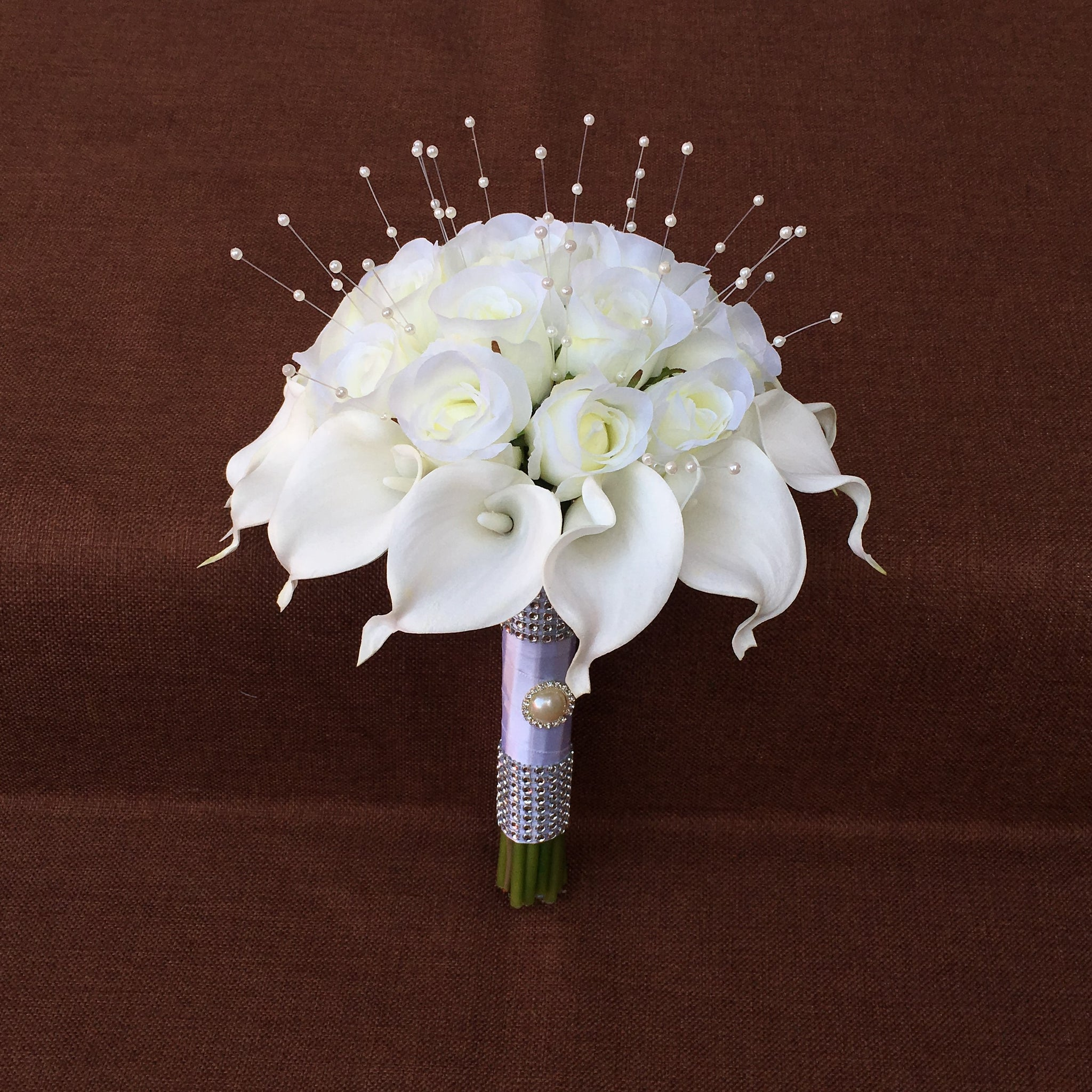 White Calla Lily Bouquet Artificial Wedding White Flower Roses