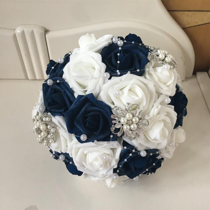 Navy And White Roses Bridal Bouquet Artificial Blue Flower Bouquet Vanrina