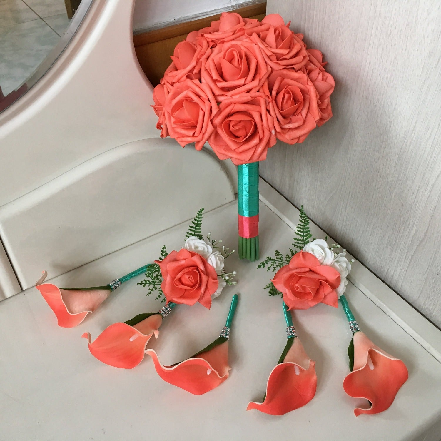 Coral Wedding Flowers Bouquet Fake Wedding Bouquet Package Coral