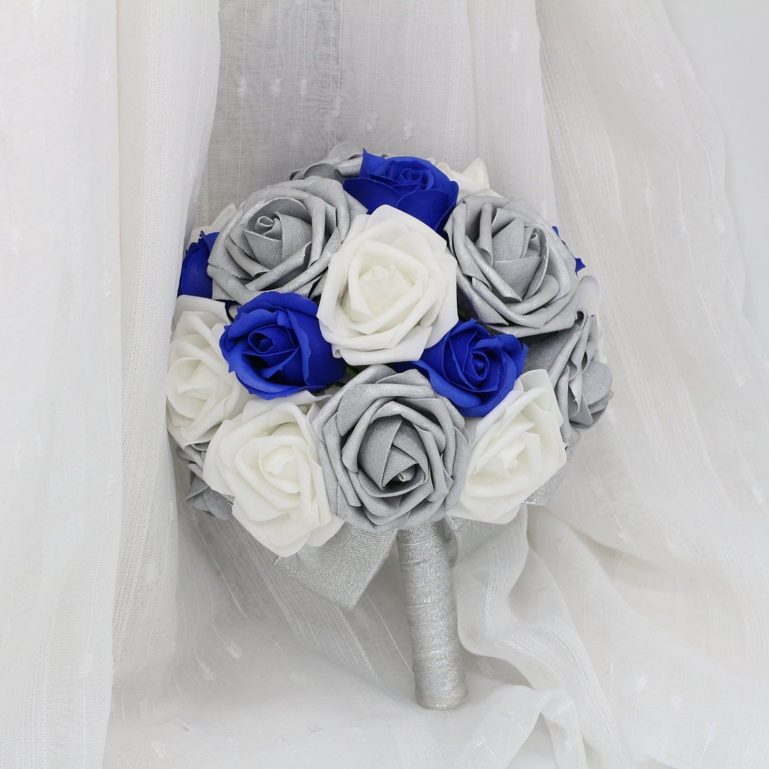 Silver White Artificial Bouquet Of Roses Royal Blue Classic Wedding Bo Vanrina