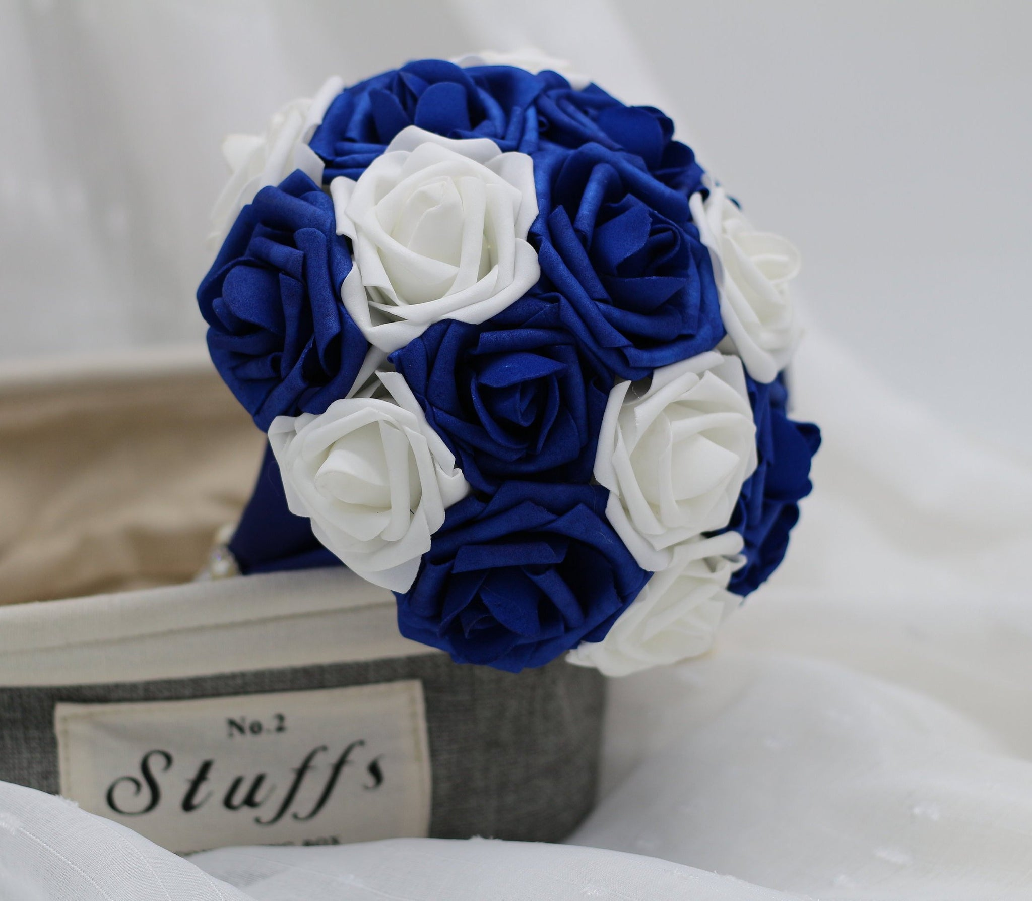 Royal Blue Wedding Bouquet And White Roses Bridal Wedding Flowers