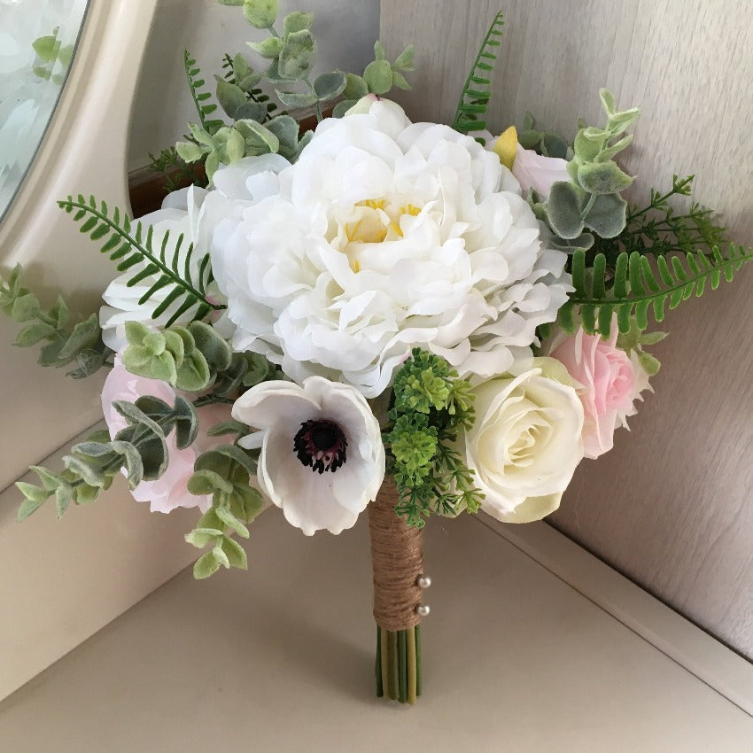 Rustic Wedding Bouquet For Bridal Silk White Peonies Anemones Pink Roses Greenery Eucalyptus Artificial Bouquet