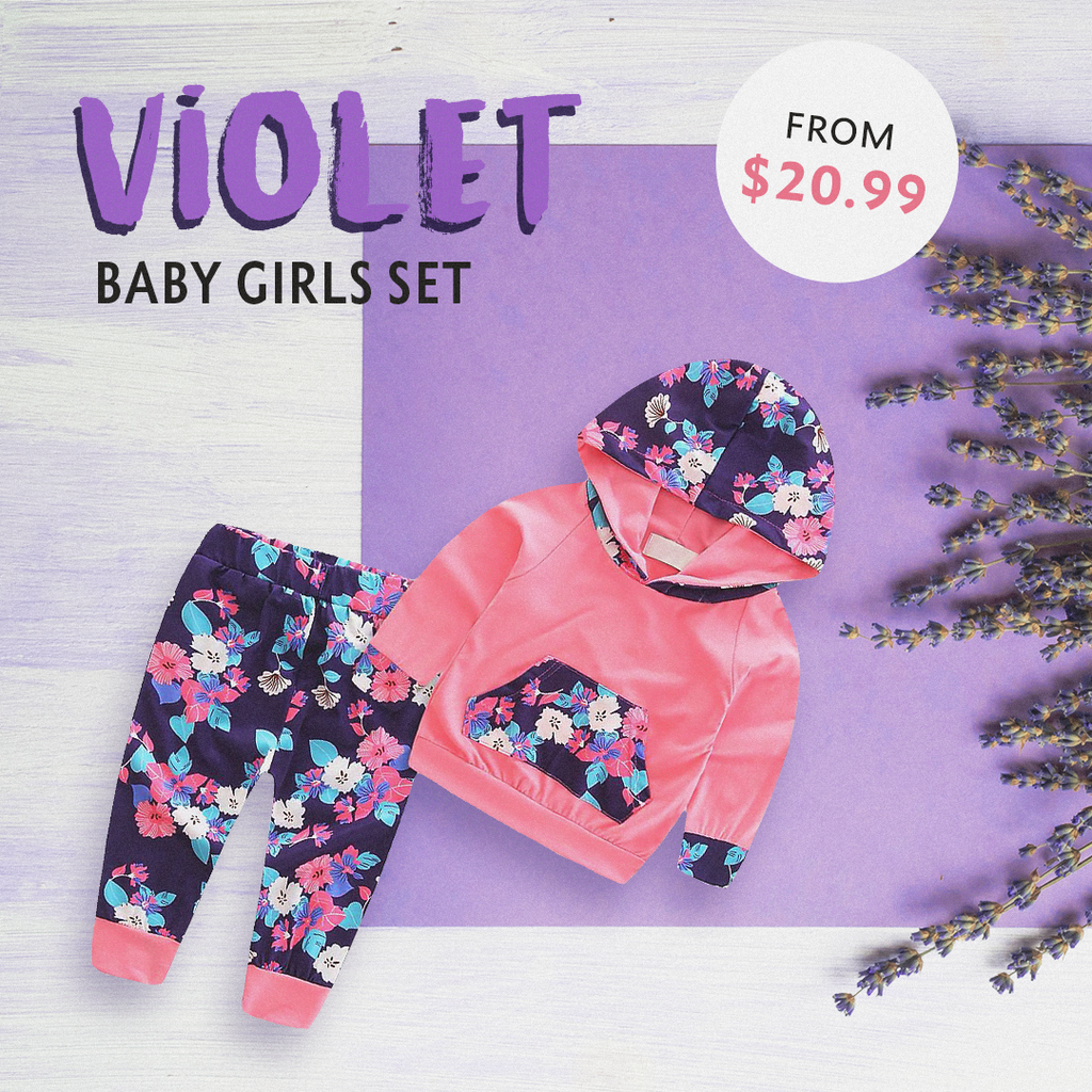 Baby Girl Hoodie Tops And Pants Set