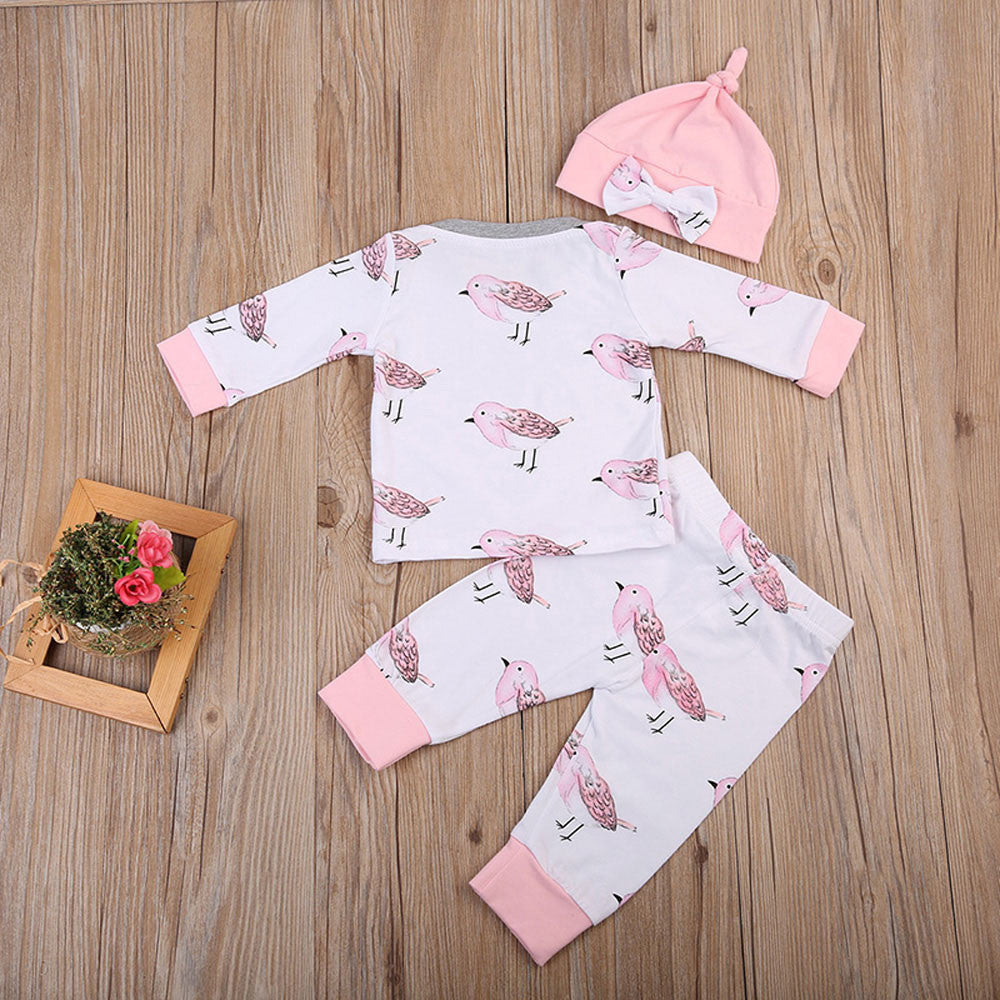 Baby Girls Birds Print Clothing Set