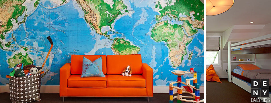 take a trip to todays daily digs and be inspired by bold color and adventure project nursery reported on this bold room made specifically for a 6 year old - Travel Home Decor