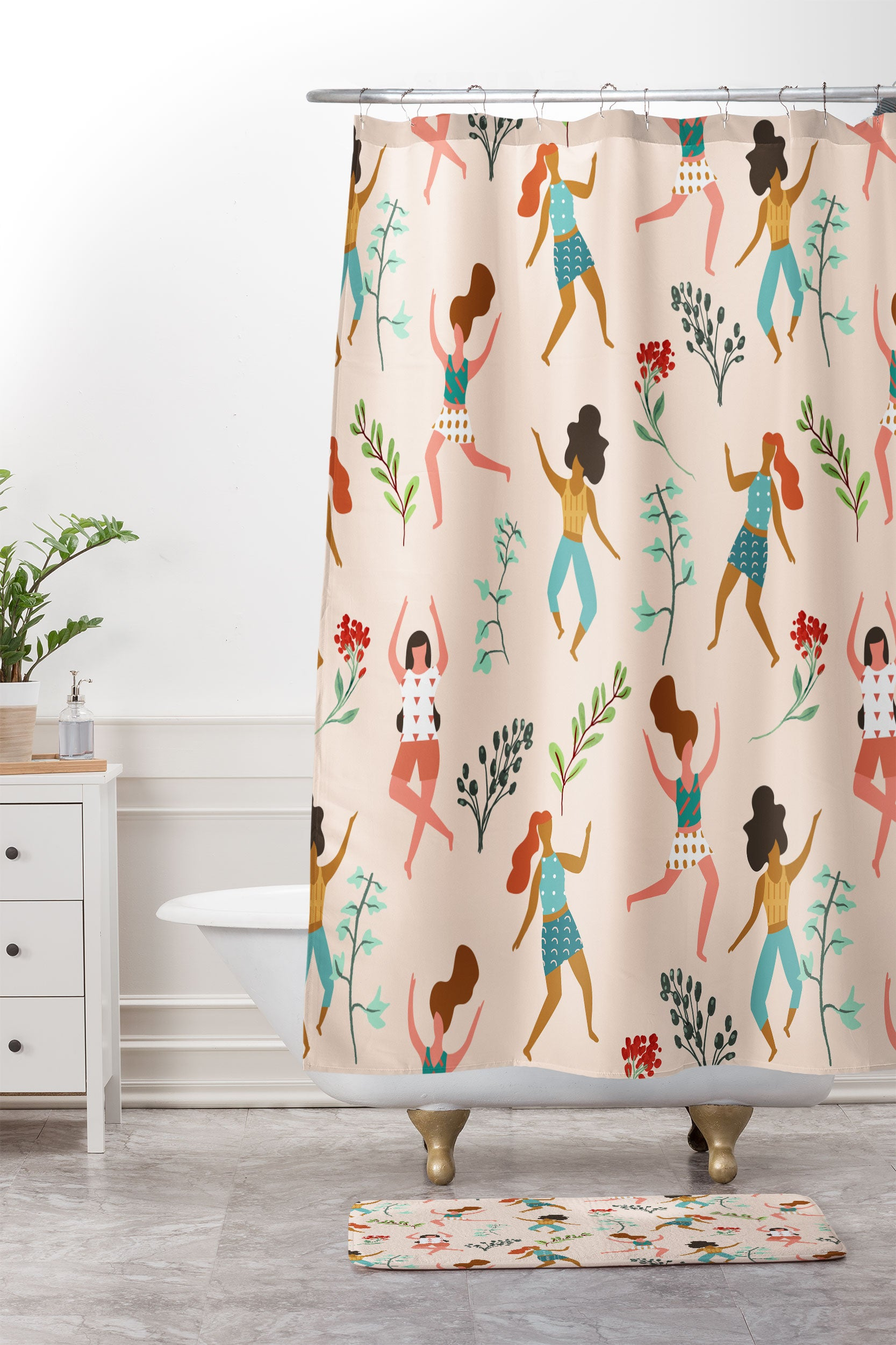 83 Oranges Central Park Zumba Shower Curtain And Mat