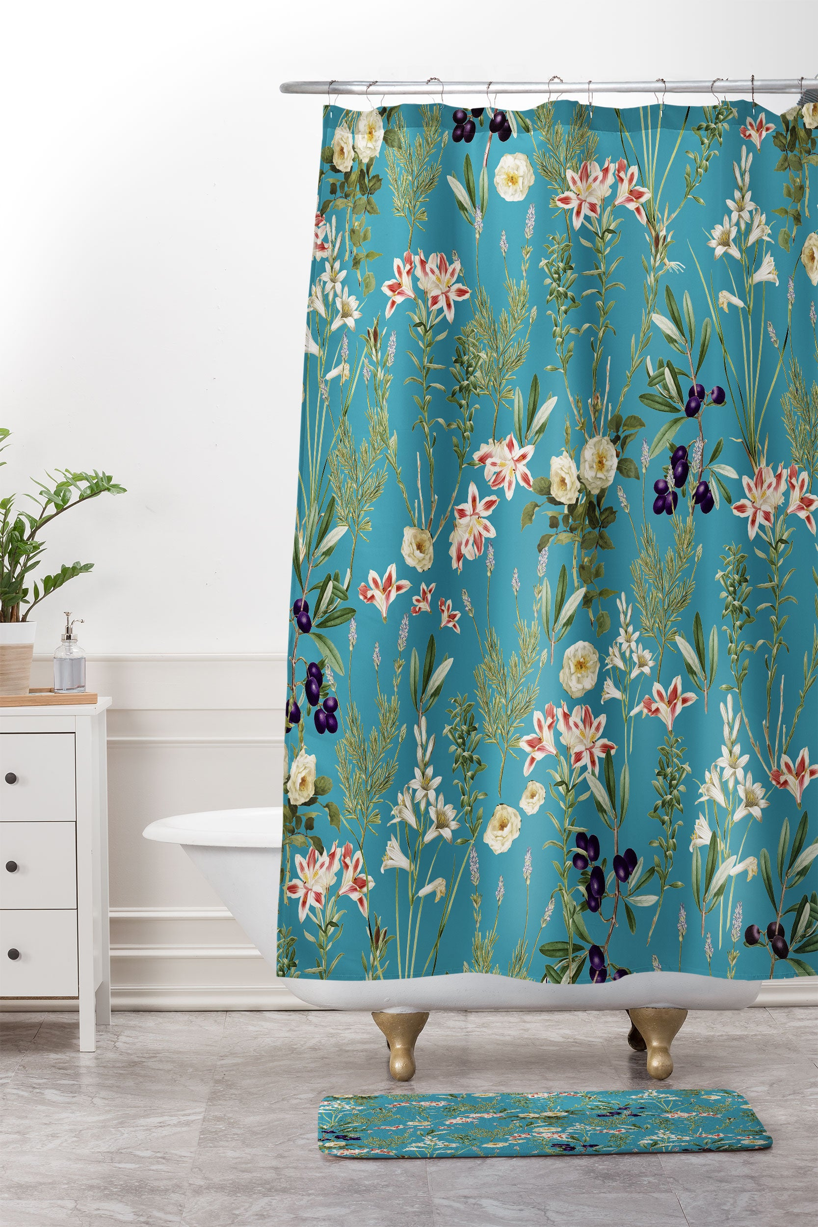 83 Oranges Teal Botanical Garden Shower Curtain And Mat