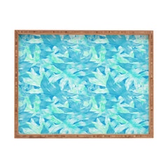 Aimee St Hill Aqua Leaves Rectangular Tray