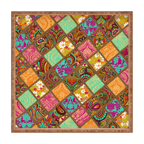 Aimee St Hill Patchwork Paisley Orange Square Tray Deny