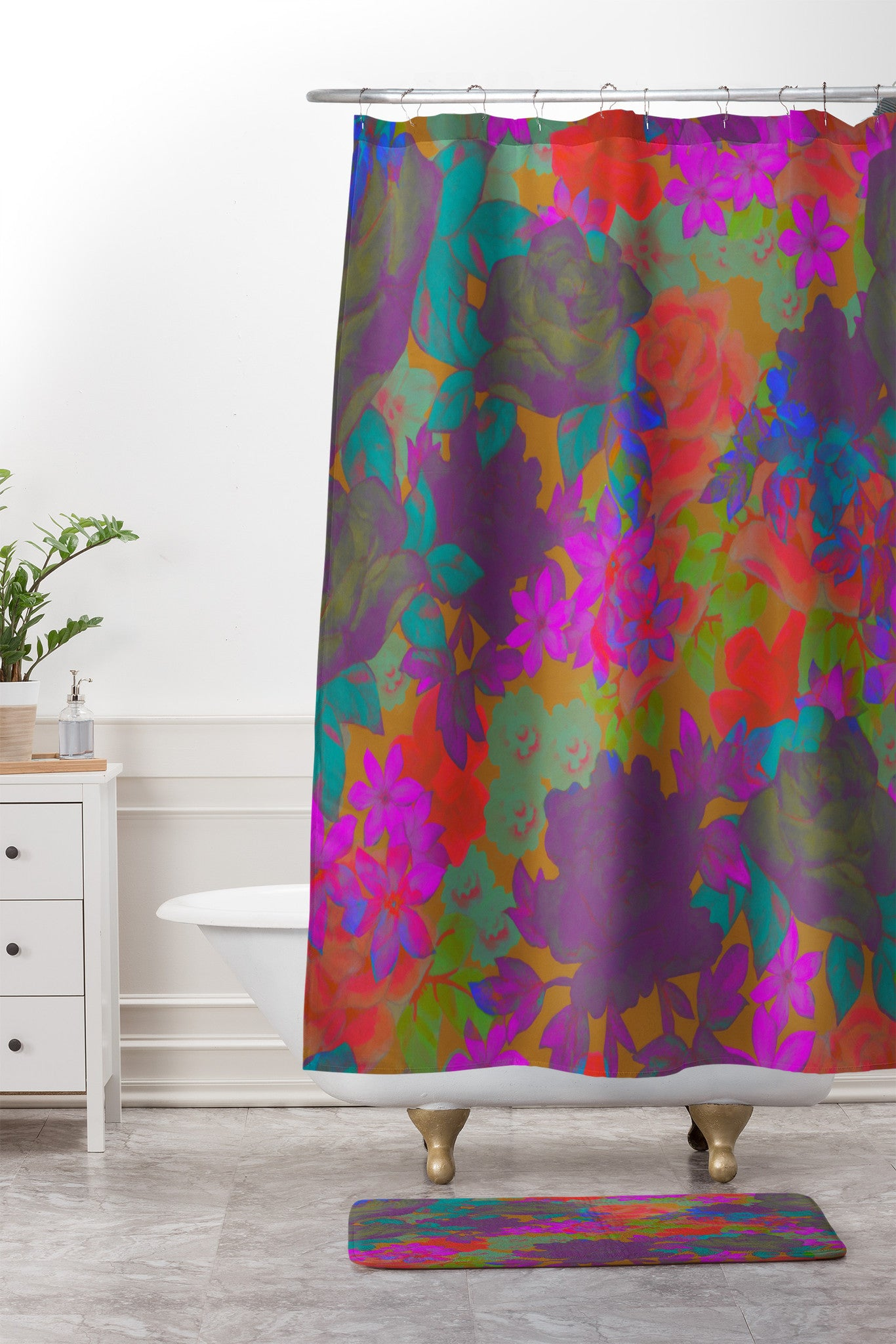 Aimee St Hill Vintage Floral Shower Curtain And Mat