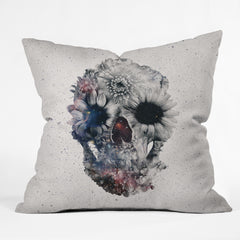 Ali Gulec Floral Skull 2 Outdoor Throw Pillow