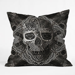 Ali Gulec Lace Skull Outdoor Throw Pillow