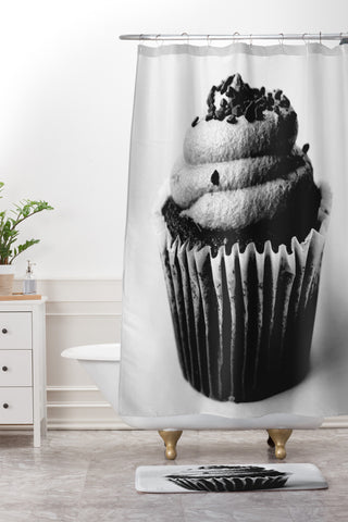 Allyson Johnson Black And White Cupcake Photograph Shower Curtain And Mat