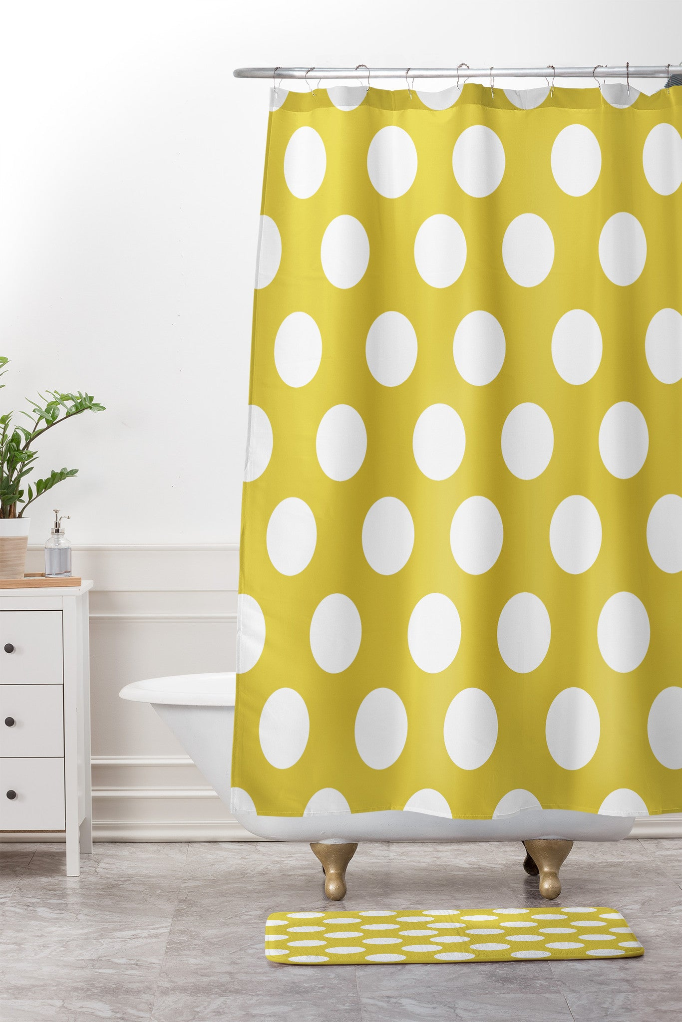 Allyson Johnson Brightest Chartreuse Shower Curtain And Mat
