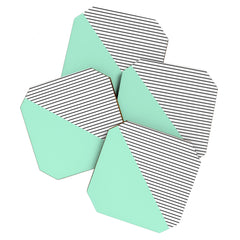 Allyson Johnson Mint and stripes Coaster Set