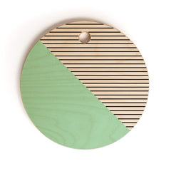 Allyson Johnson Mint and stripes Cutting Board Round