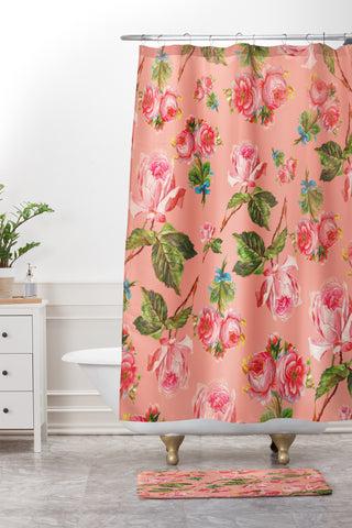 Allyson Johnson Pink Floral Shower Curtain And Mat