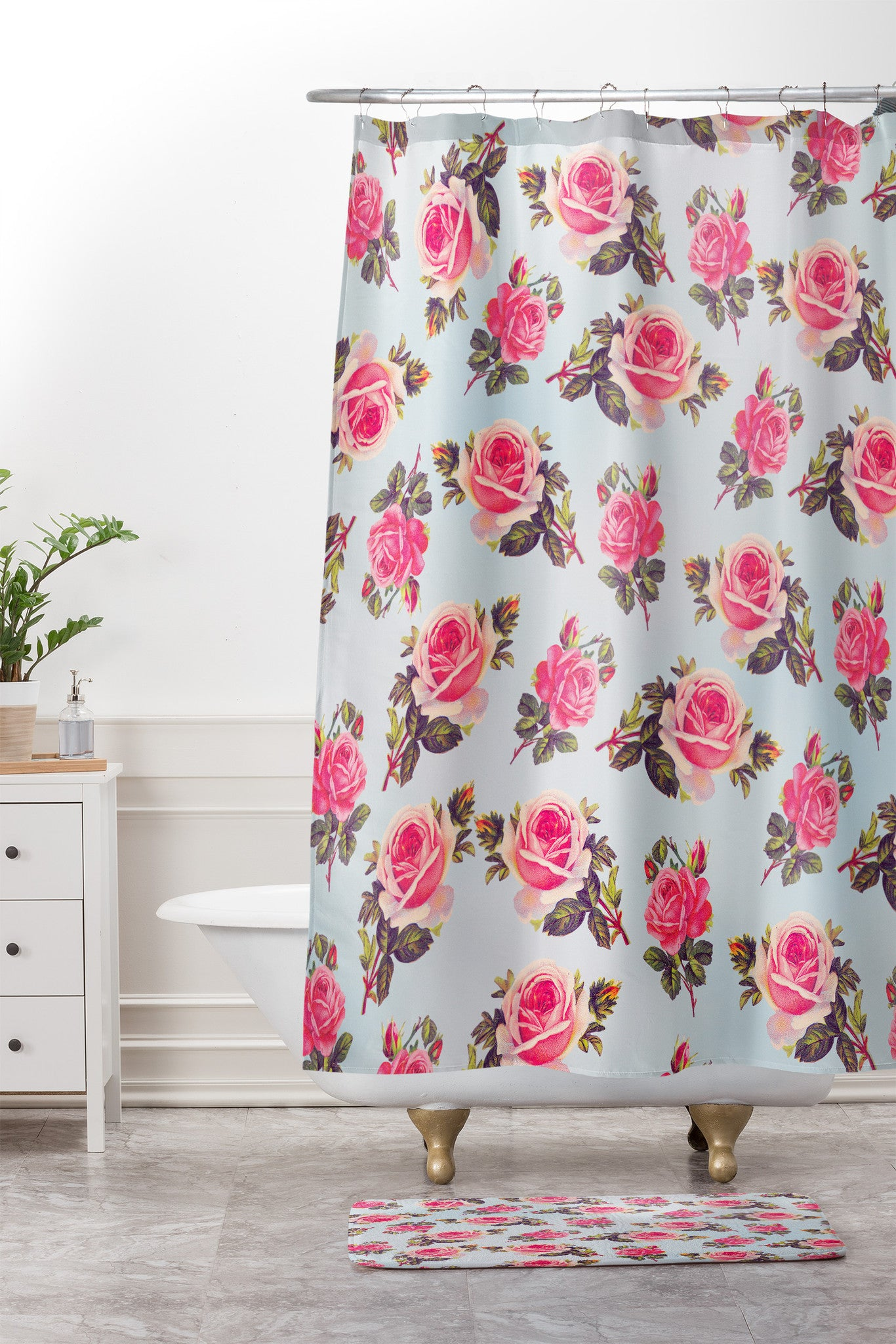 Pink Roses. Shower Curtain And Mat. By Allyson Johnson