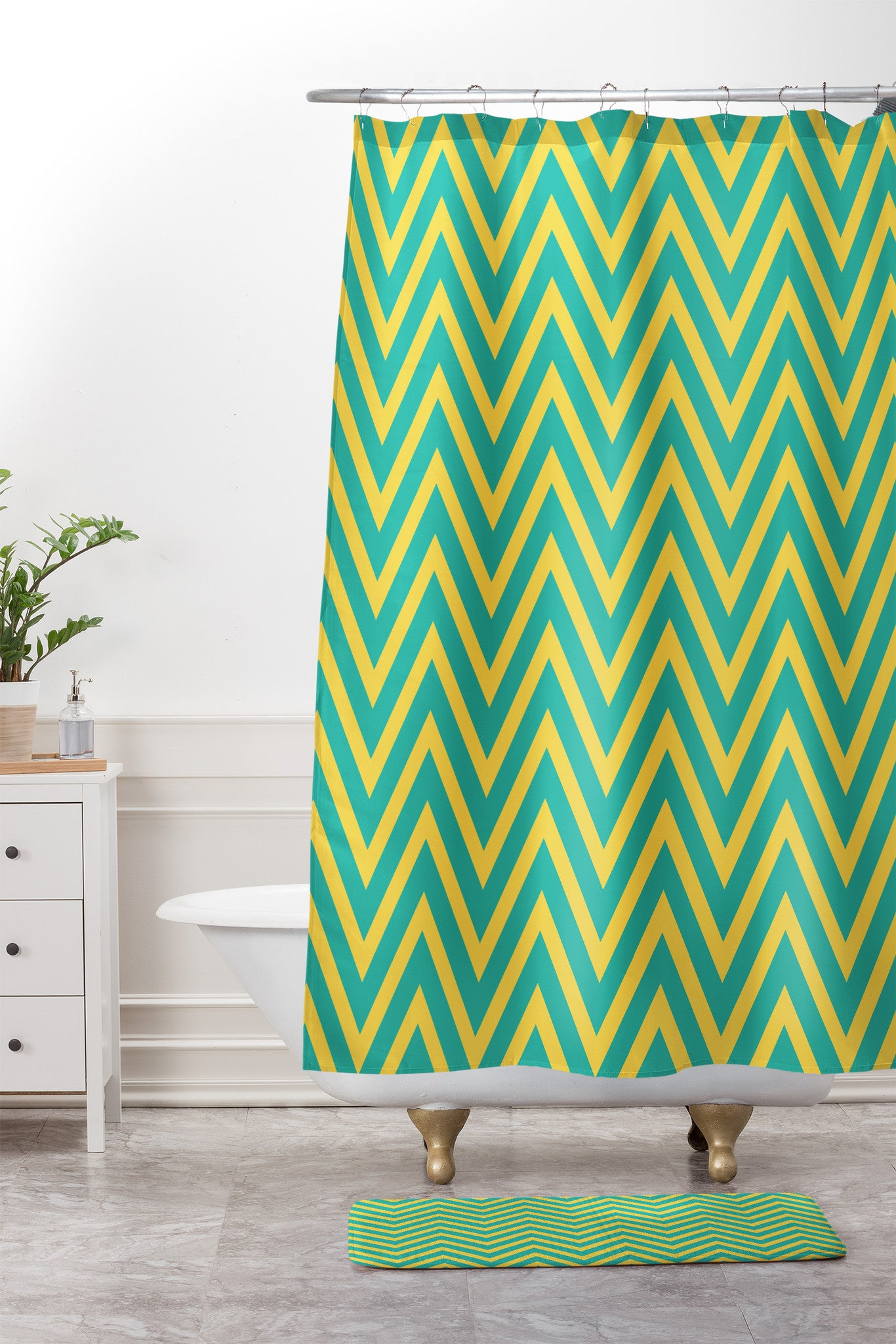 Allyson Johnson Teal Chartreuse Chevron Shower Curtain And Mat