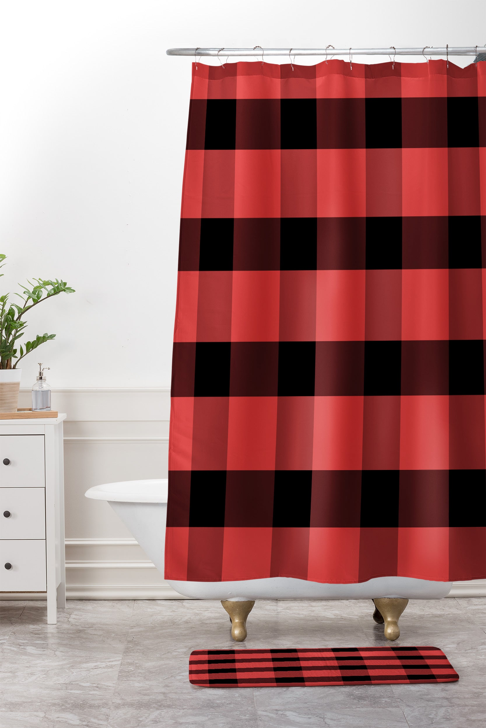 Winter Plaid Shower Curtain And Mat By Allyson Johnson