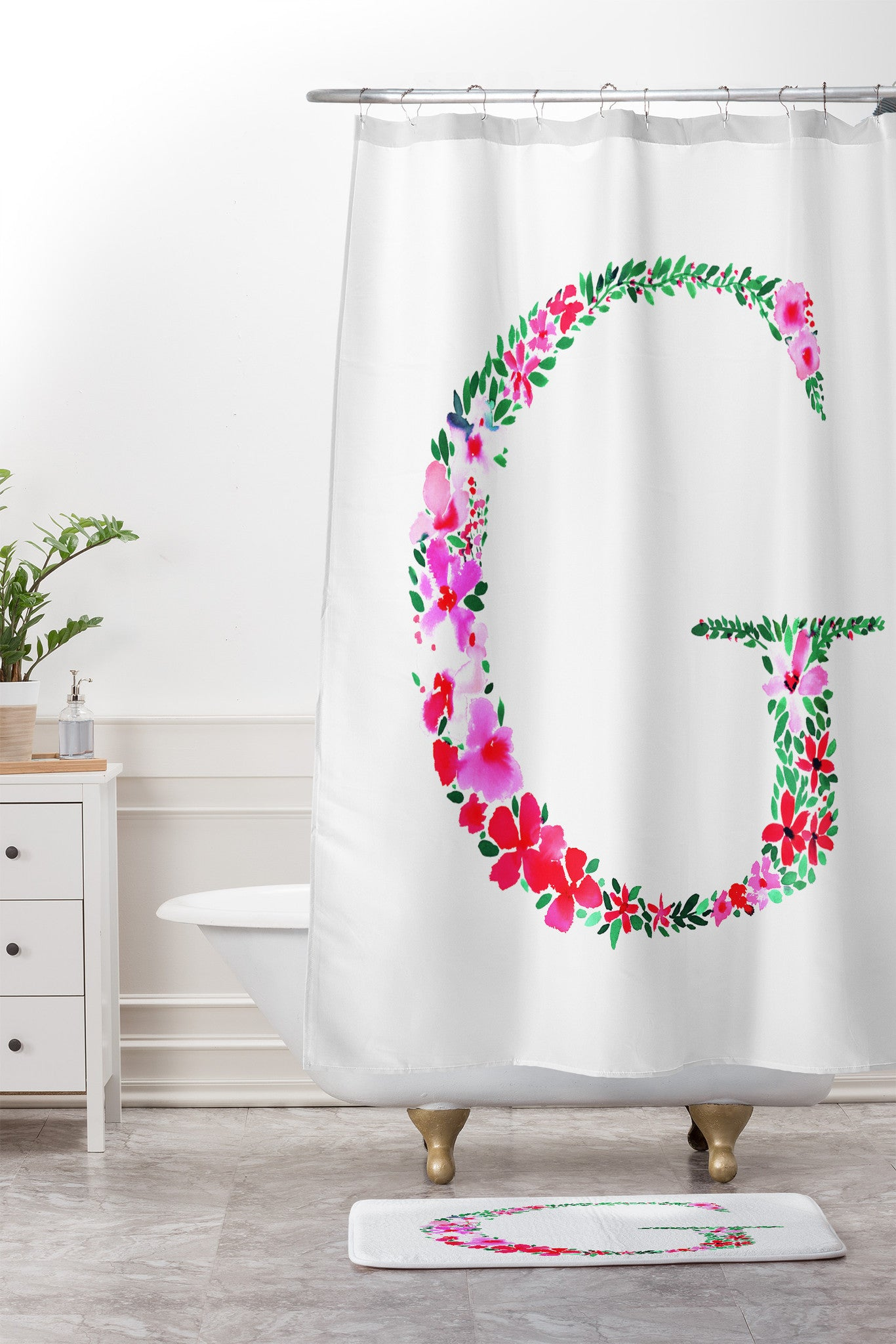 Floral Monogram Letter G Shower Curtain And Mat Amy Sia