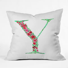 Amy Sia Floral Monogram Letter Y Outdoor Throw Pillow