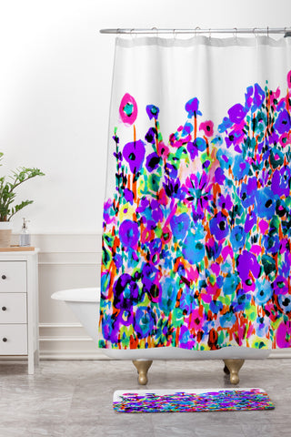 Amy Sia Flower Fields Blue Shower Curtain And Mat