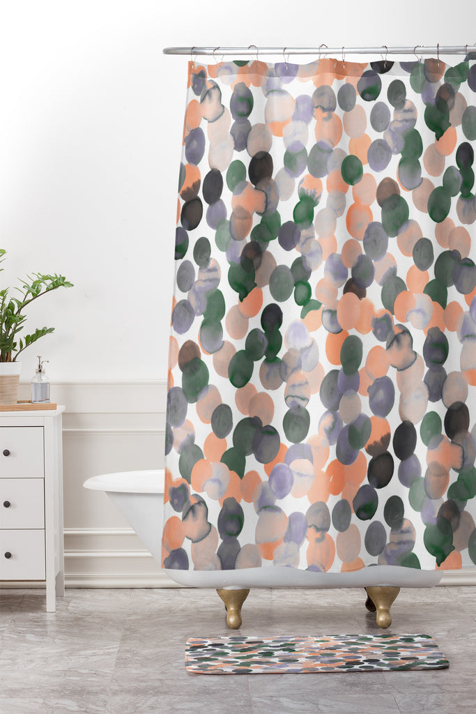 Gracie Spot Peach Grey Shower Curtain And Mat Amy Sia