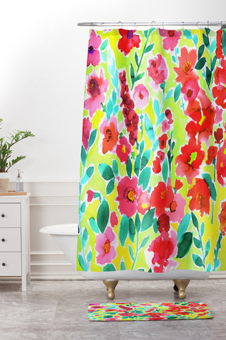 teal and yellow shower curtain. amy sia isla floral yellow shower curtain and mat Nature Amy Sia Shower Curtains  Deny Designs