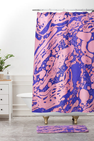 Amy Sia Marble Blue Pink Shower Curtain And Mat