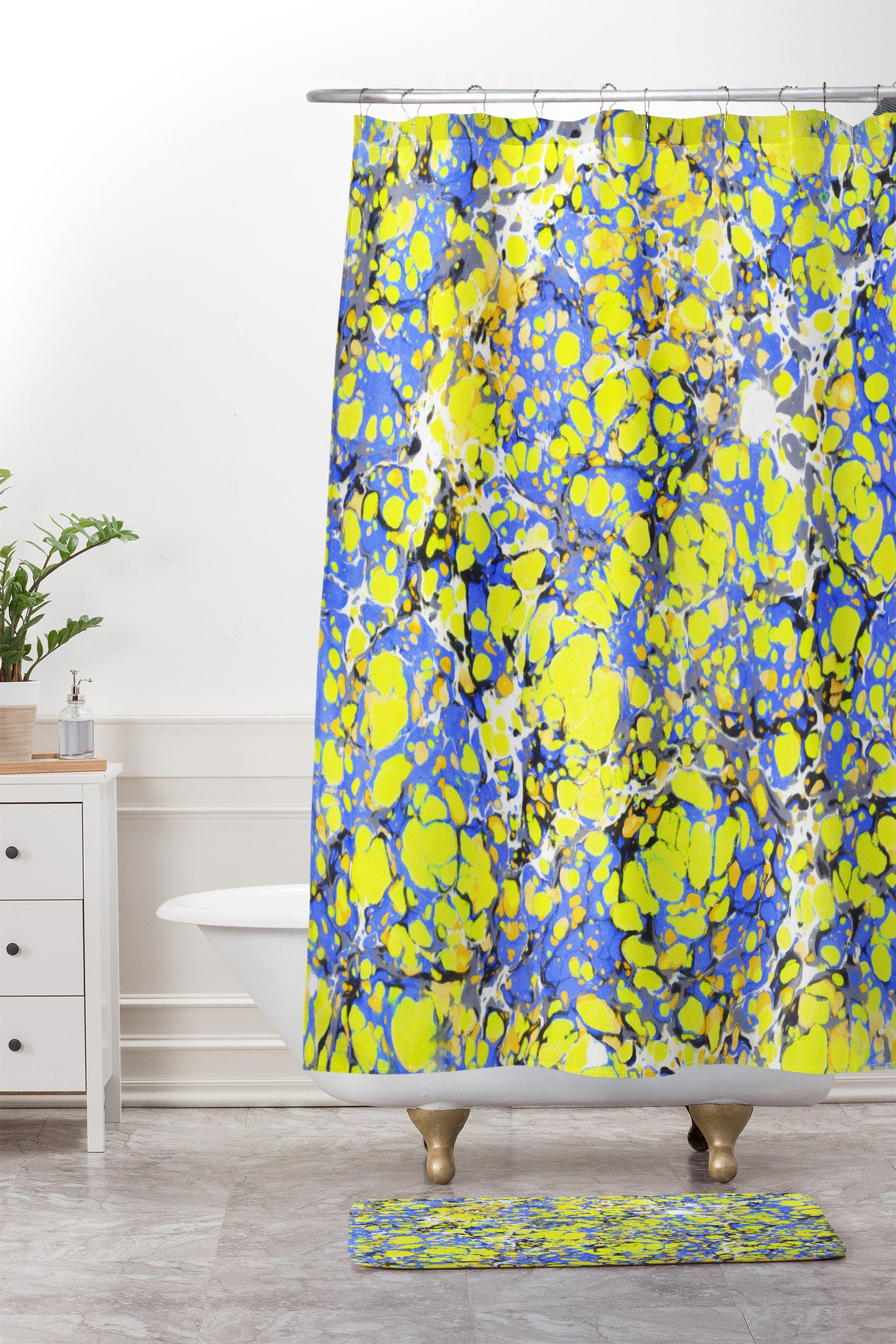 Amy Sia Marble Bubble Blue Yellow Shower Curtain And Mat