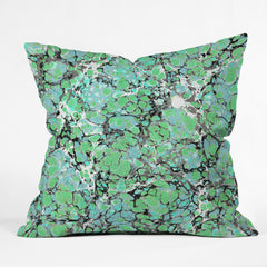 Amy Sia Marble Bubble Mint Outdoor Throw Pillow