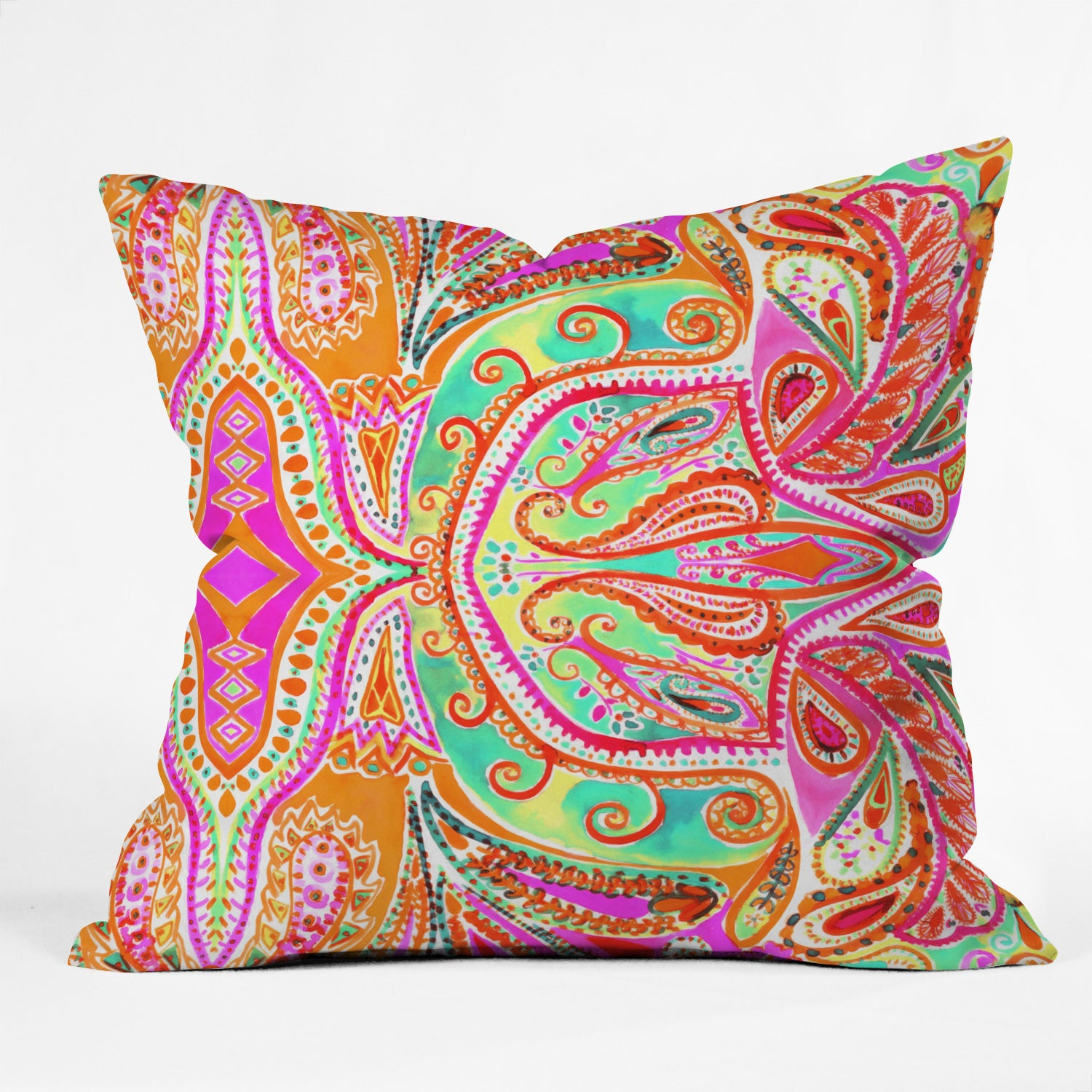 Paisley Pink Outdoor Throw Pillow Amy Sia