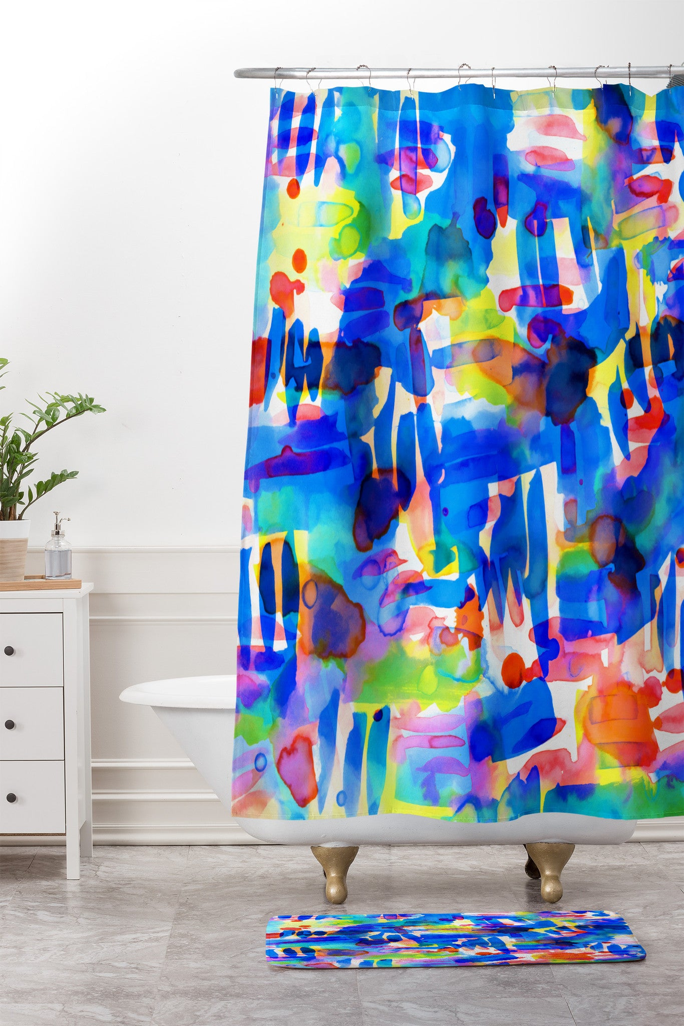 Amy Sia Tropico Blue Shower Curtain And Mat