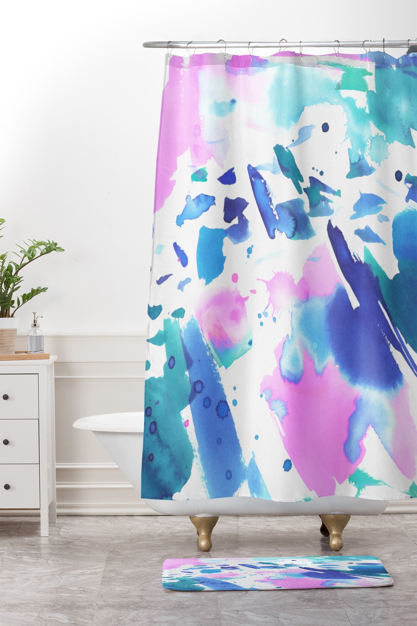 Watercolor Splash Shower Curtain And Mat Amy Sia