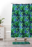 Amy Sia Welcome to the Jungle Palm Deep Green Shower Curtain And Mat