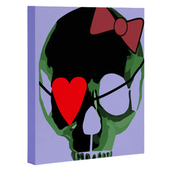 Amy Smith Green Skull with Bow Art Canvas