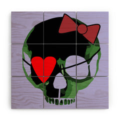 Amy Smith Green Skull with Bow Wood Wall Mural